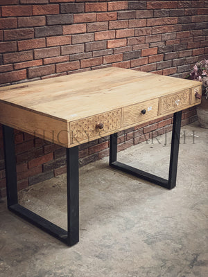 Industrial Desk with multi carved drawers   lucky-furniture-handicrafts.