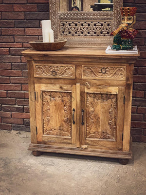 Carved 2 draw sideboard   lucky-furniture-handicrafts.