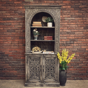 Greywash Carved bookshelf with cabinet   lucky-furniture-handicrafts.