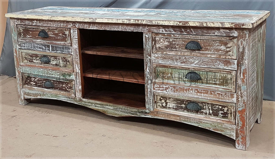 Recycle design 6 draw tv stand   lucky-furniture-handicrafts