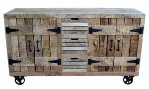 Barn Style Sideboard with wheels   lucky-furniture-handicrafts