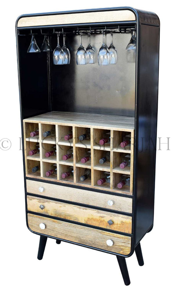 Industrial design Wine Rack 3 draw   lucky-furniture-handicrafts.