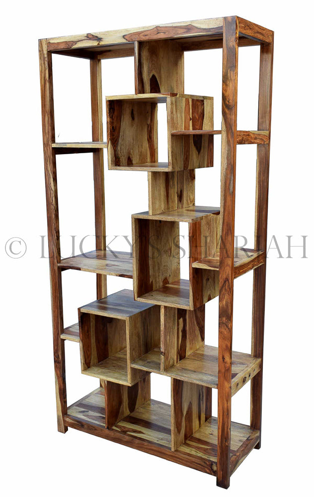 Wooden Rosewood Staggered Bookshelf   lucky-furniture-handicrafts