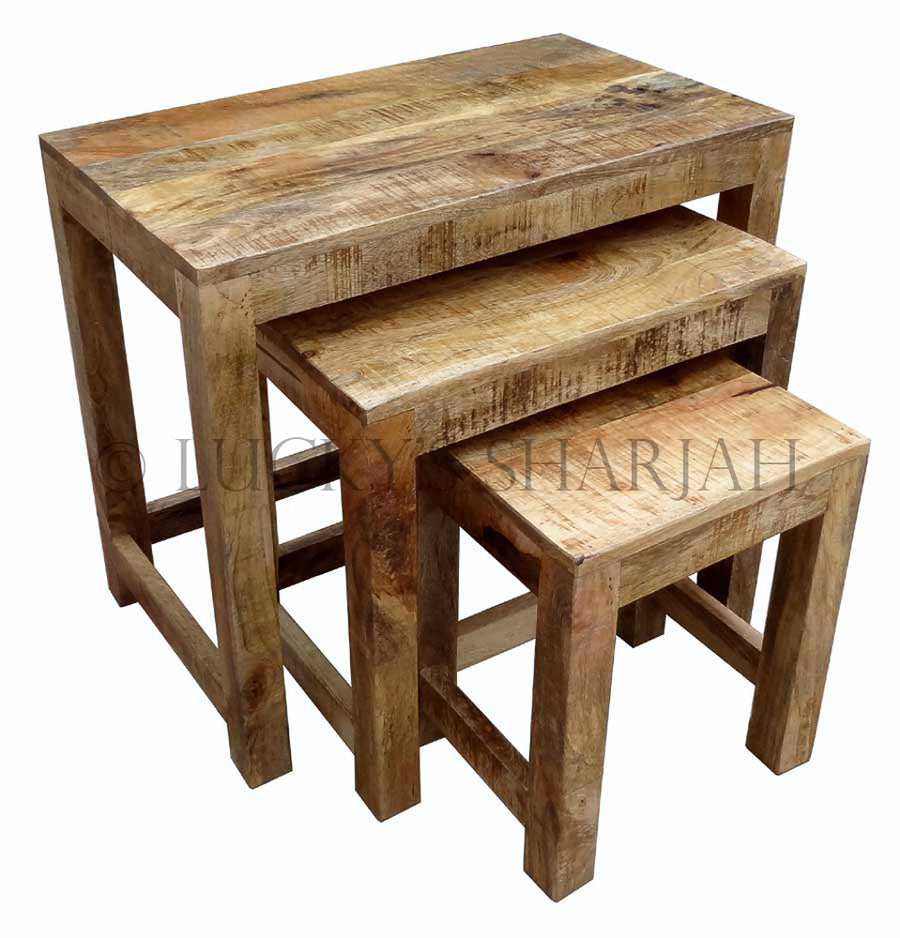 Full Wooden Nesting Table (Mango Wood)   lucky-furniture-handicrafts