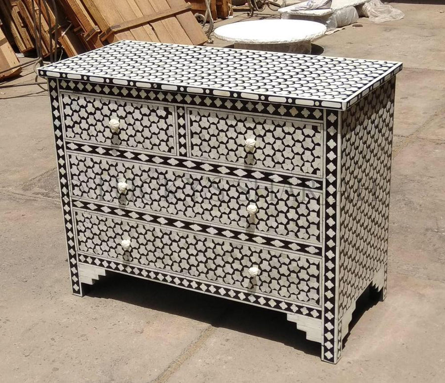 Black and White HoneyComb Bone Inlay Drawchest  simple lucky-furniture-handicrafts.