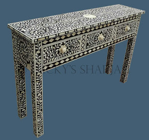 Black Floral Bone Inlay Console  simple lucky-furniture-handicrafts