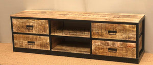 4 Draw Metal and Wood TV Stand  variable lucky-furniture-handicrafts.