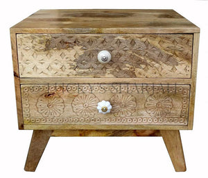 2 Draw Carved Bedside  simple lucky-furniture-handicrafts.