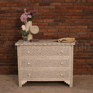 Geometric Design Bone Inlay Draw Chest  simple lucky-furniture-handicrafts