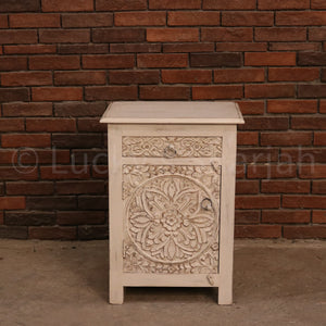 White Traditional Motif Bedside  simple lucky-furniture-handicrafts.