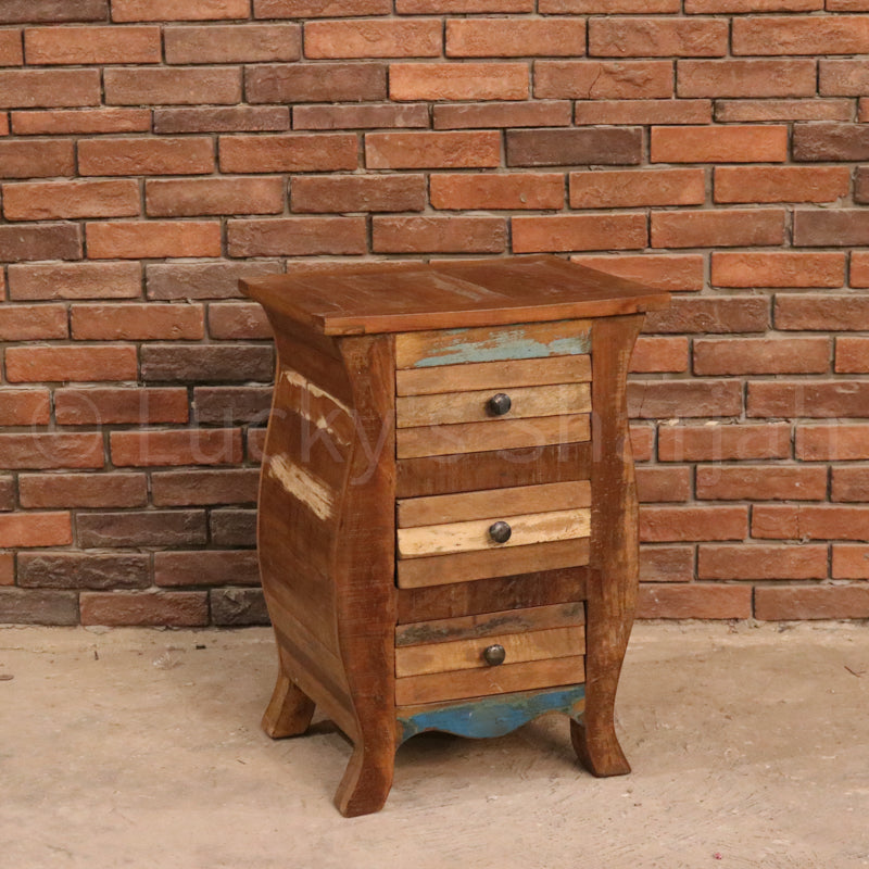 Recycled Wood Bedside  simple lucky-furniture-handicrafts.