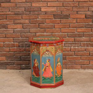 Mughal Hand Painted Trunk  simple lucky-furniture-handicrafts.