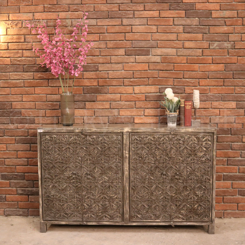 Grey Carved Sideboard  simple lucky-furniture-handicrafts