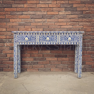 Royal Blue Floral Bone Inlay Console  simple lucky-furniture-handicrafts