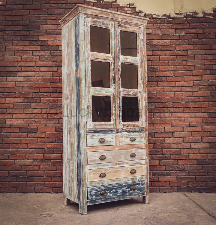 Recycle Design Glass Cabinet with 5 draw   lucky-furniture-handicrafts.