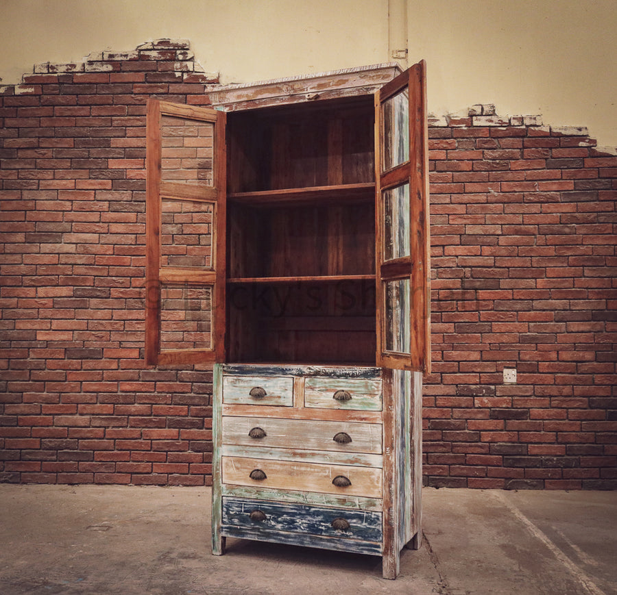 Recycle Design Glass Cabinet with 5 draw