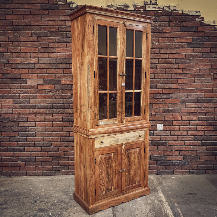 Classic Glass Acacia wood cabinet   lucky-furniture-handicrafts.