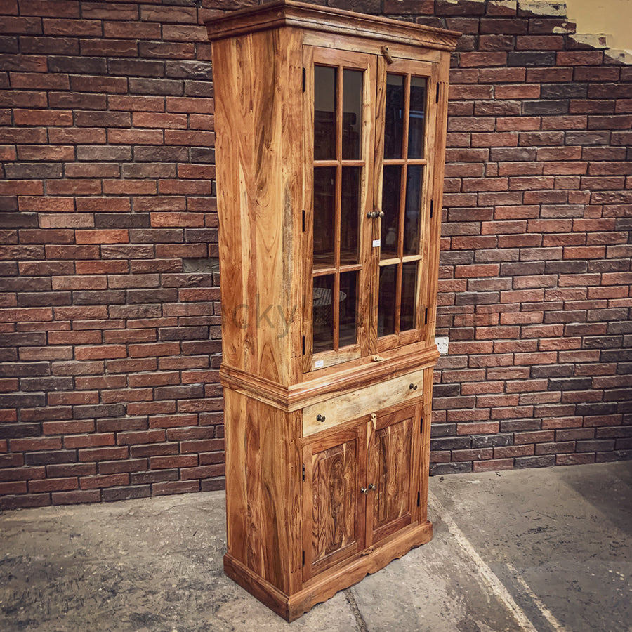 Classic Glass Acacia wood cabinet