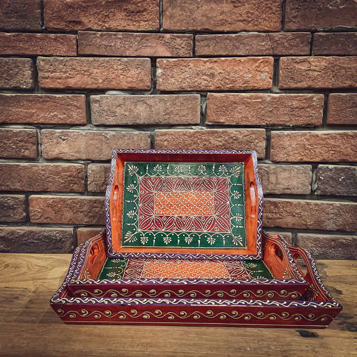 Hand painted multi-color tray set   lucky-furniture-handicrafts.