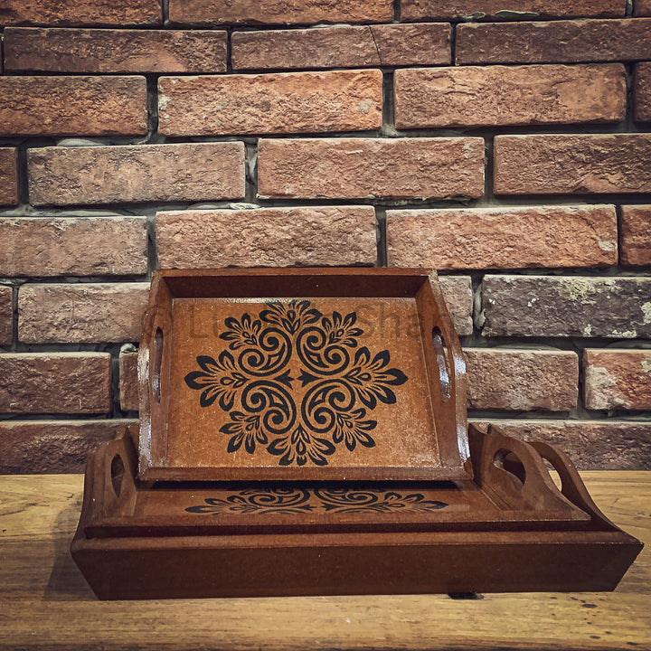 Boho Wooden Decor Tray   lucky-furniture-handicrafts.