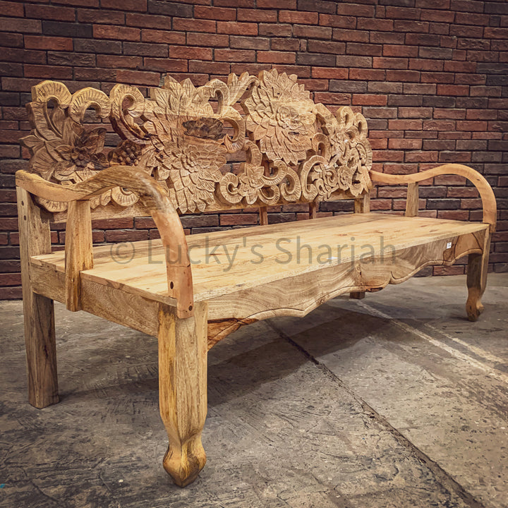 Floral Carved Bench   lucky-furniture-handicrafts.