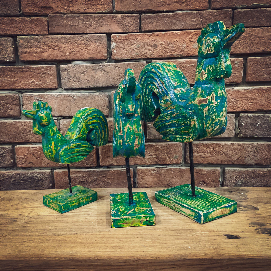 Green Painted Rooster decor   lucky-furniture-handicrafts.