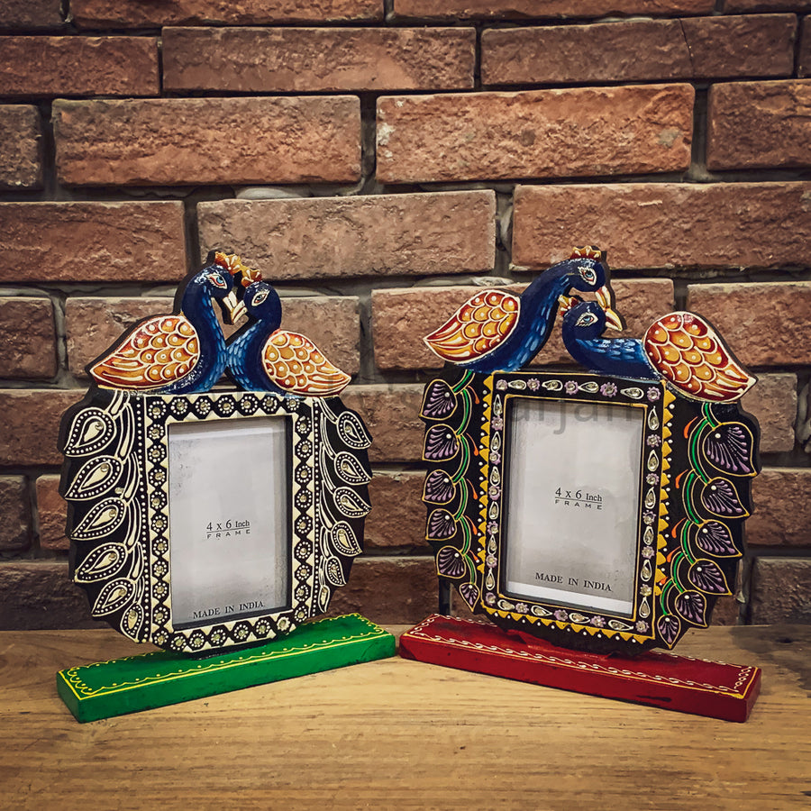 Handpainted peacock photo frame   lucky-furniture-handicrafts.