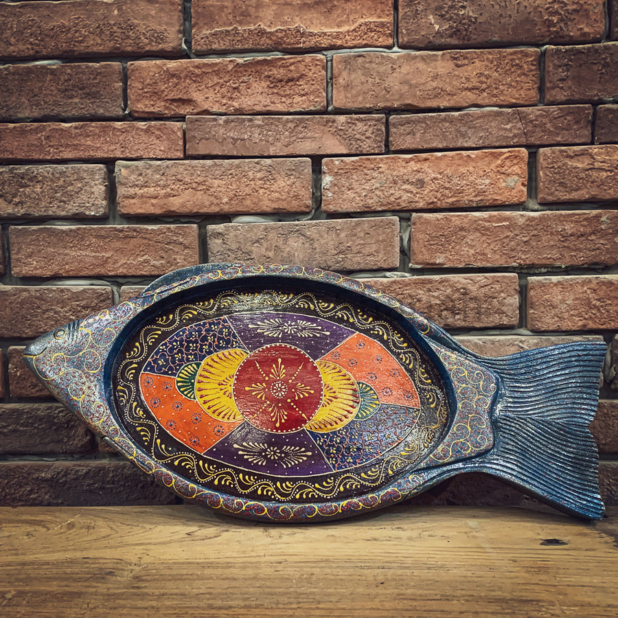 Fish design handpainted tray   lucky-furniture-handicrafts.