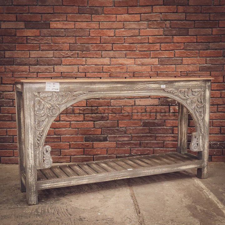 Two Tone Grey Console carved   lucky-furniture-handicrafts.