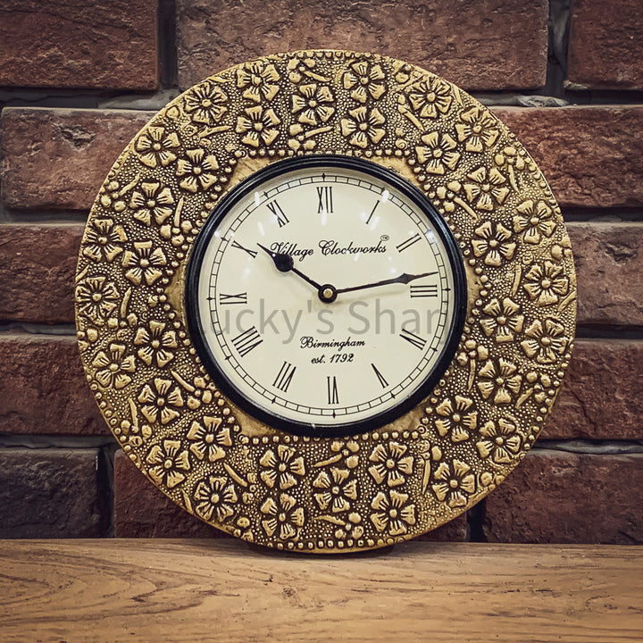 Brass inlay wall clock CK2   lucky-furniture-handicrafts.