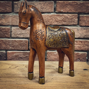 Brass inlay and handpainted wooden horse   lucky-furniture-handicrafts.