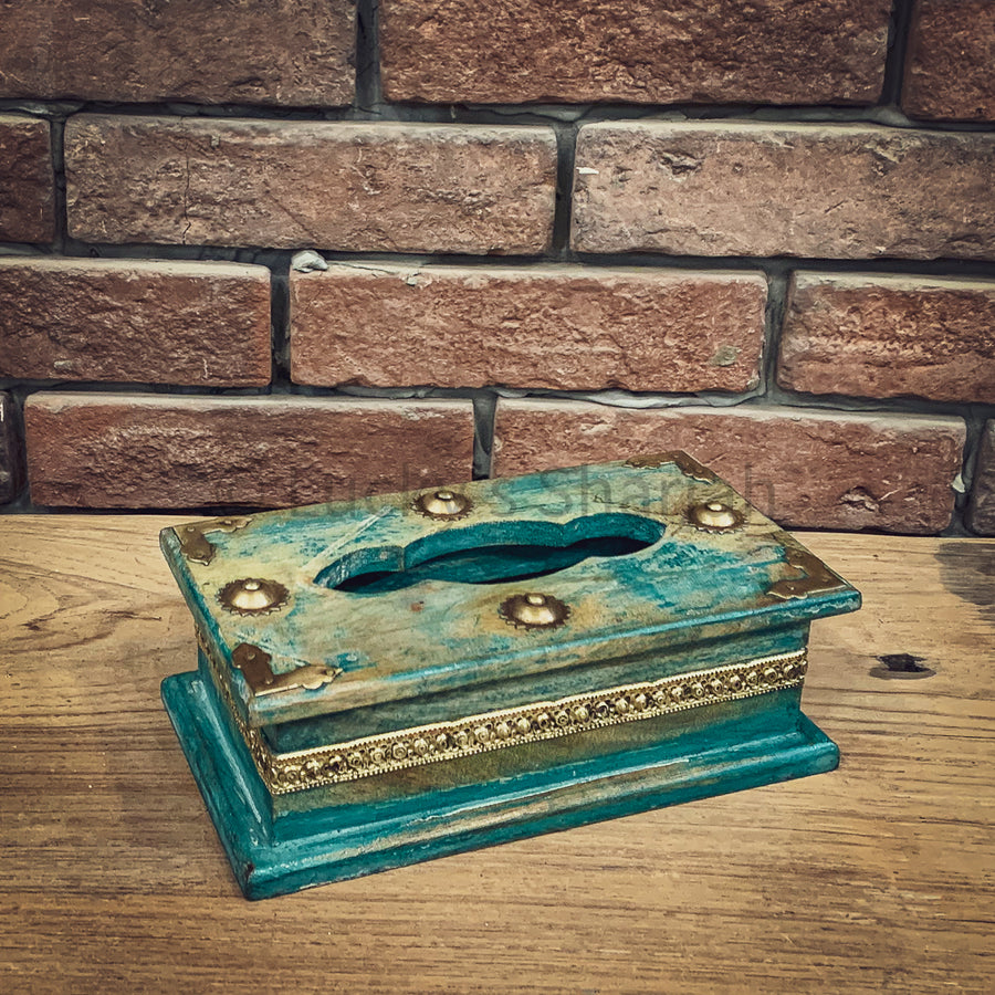 Blue wash tissue box   lucky-furniture-handicrafts.