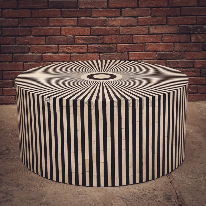 Round Geometric Bone Inlay Coffee Table   lucky-furniture-handicrafts.