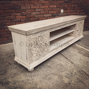 Carved whitewash Tv stand 2 door   lucky-furniture-handicrafts.