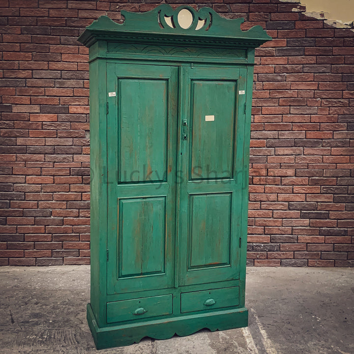 Royal Green Distress Vintage Cabinet   lucky-furniture-handicrafts.