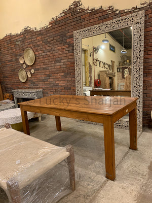 Teak wood full wooden dining table   lucky-furniture-handicrafts.