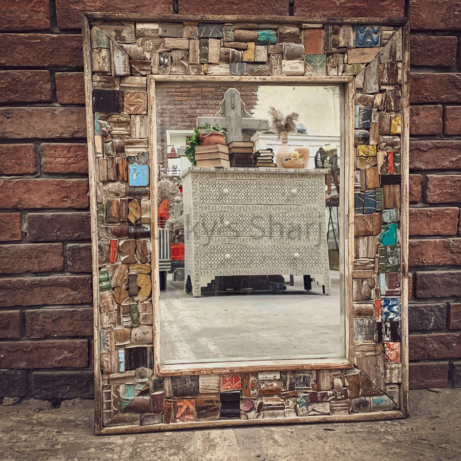 Recycled Block Pieces small mirror frame   lucky-furniture-handicrafts.