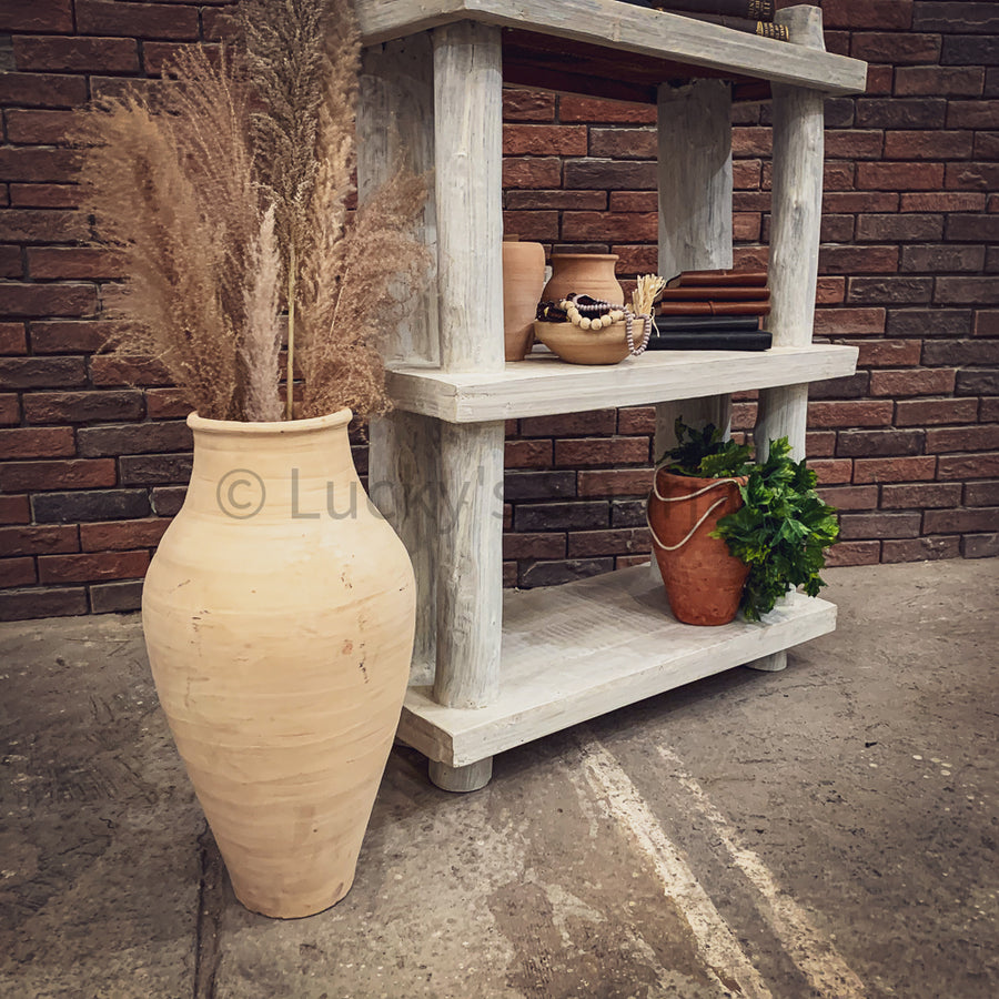 Bamboo Log Shelf whitewash   lucky-furniture-handicrafts.
