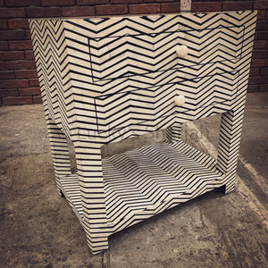 Stripe Bone inlay 2 draw table