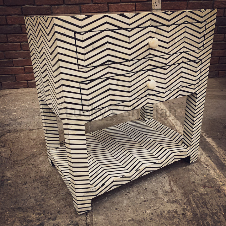 Stripe Bone inlay 2 draw table   lucky-furniture-handicrafts.