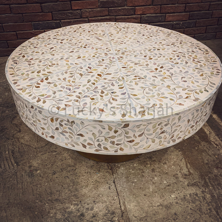 Floral mother of pearl coffee table   lucky-furniture-handicrafts.