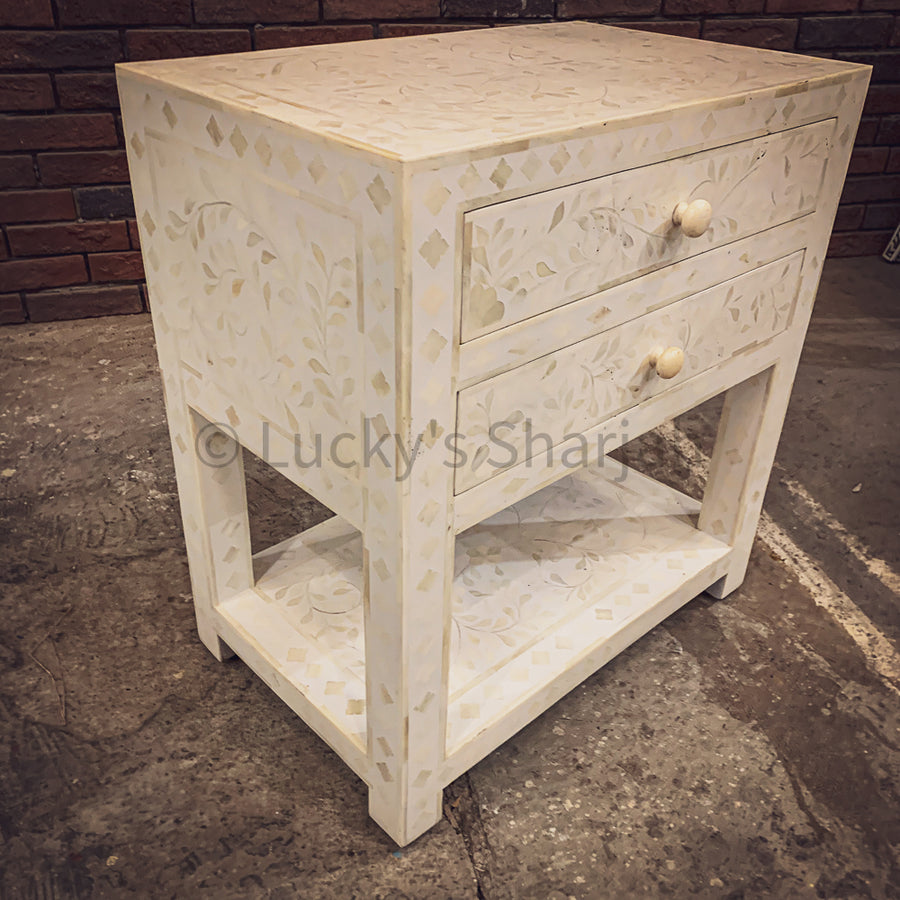 Mother of pearl inlay bedside table 2 draw XL   lucky-furniture-handicrafts.
