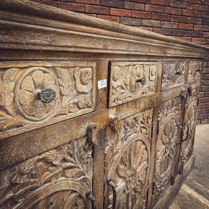Carved 4 draw sideboard Sandblast Burnt Grey Wash   lucky-furniture-handicrafts.
