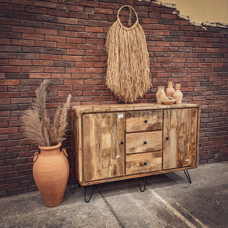 Mango Wood sideboard with hairpin design   lucky-furniture-handicrafts.
