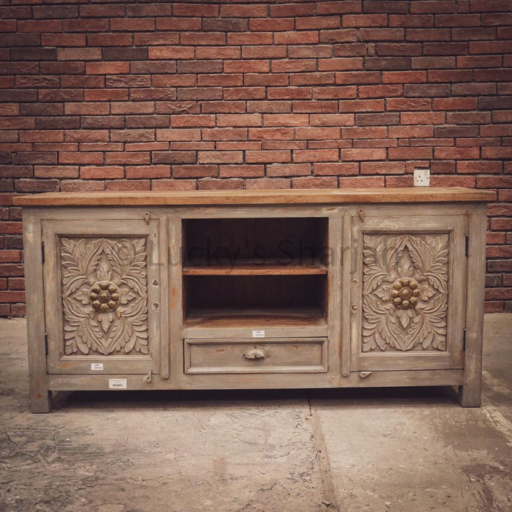 Grey Carved Tv Stand with brass inlay 2 door 1 draw+   lucky-furniture-handicrafts.