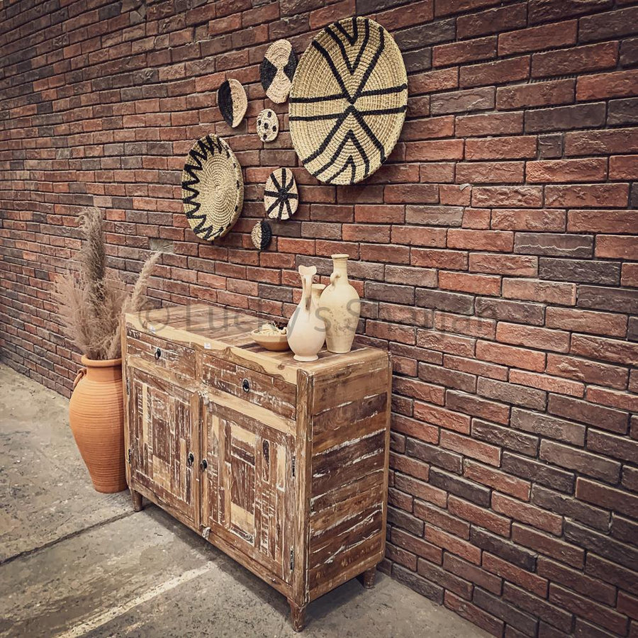 Boho Wall Basket 2 Tone   lucky-furniture-handicrafts.