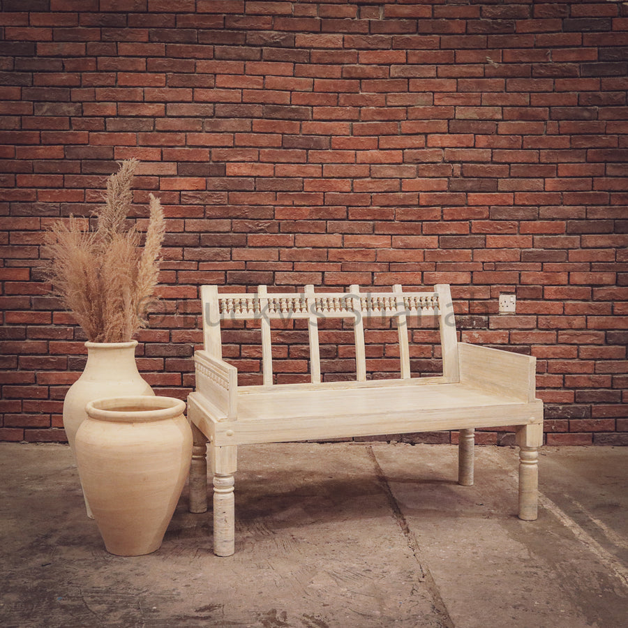 Motif whitewash carved bench