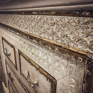 Carved brass inaly drawchest
