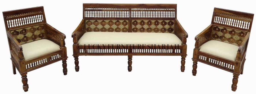 Brass Bench With Cushion  simple lucky-furniture-handicrafts