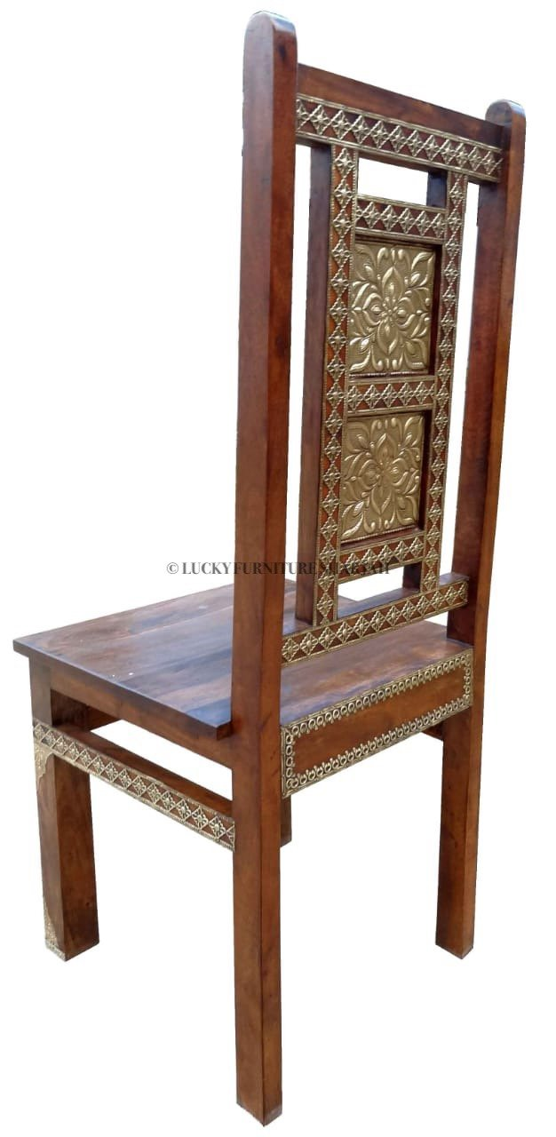 Brass Flower Panel Chair  simple lucky-furniture-handicrafts.